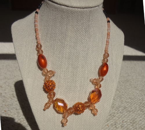 Copper color bead necklace